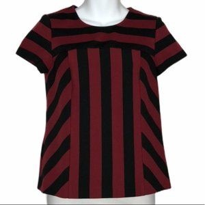 VINCE CAMUTO Maroon/Black Striped Colorblock Shirt